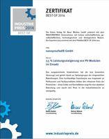 nanoproofed® Gewinnt Industriepreis für PV-Modul-Beschichtung