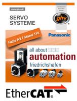 """Das Bussystem ist nicht alles, aber ohne EtherCAT und ghv Antriebstechnik  ist alles andere nichts! Das alles sehen Sie auf der Messe """"all about   automation"""" in Friedrichshafen vom 13.-15.5.2014."""