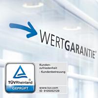 Wertgarantie: Geprüfte Kundenzufriedenheit - TÜV bestätigt Zertifizierung