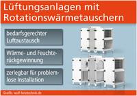 Lüftungsanlagen mit Rotationswärmetauschern