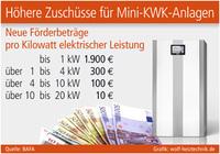Höhere Zuschüsse für Mini-KWK-Anlagen