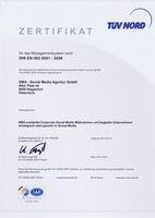 SMA - Social Media Agentur hat sich Alleinstellungsmerkmal gesichert - nach ISO 9001 REZERTIFIZIERT