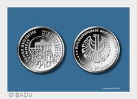 """In reinstem Silber: 25-Euro-Münze """"25 Jahre Deutsche Einheit"""""""