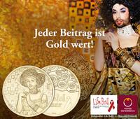 Münze Österreich verewigt Life Ball Plakat 2015 auf einer Medaille