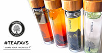 Doppelwandiges amapodo Tee-Glas, Teesieb & echtem Bambusdeckel