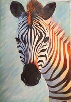 Afrikanische Ölgemälde: Zebra schlägt Big Five