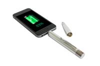 Weltneuheit  Der Powerbank-Kugelschreiber als Werbepräsent bietet Extrastrom für Smartphone & Co.