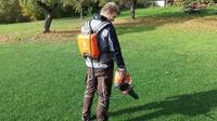 Akku-Laubbläser extrem lange Laufzeiten mit Akku-Rucksack