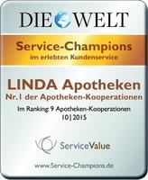 """LINDA Apotheken sind zum fünften Mal hintereinander """"Service-Champions"""""""