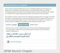 Flüchtlingshilfe: PMI Munich Chapter e.V. launcht Hilfe- und Informationsportal