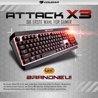 Neuheit bei Caseking: Das mechanische Kraftpaket - die Cougar Attack X3 Gaming-Tastatur mit Cherry-MX-Switches.