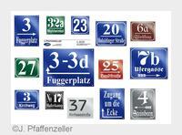 Münchner Hausnummernschilder - J. Pfaffenzeller Emaillierungen