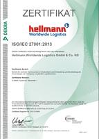 Geprüft und zertifiziert nach ISO/IEC 27001:2013 - DEKRA Certification GmbH bestätigt Informationssicherheit bei Hellmann Worldwide Logistics