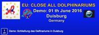 Tierschützer demonstrieren vor dem Zoo Duisburg und fordern von der EU Meerwasser für Delfinarien?