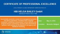 HBI erhält Worldcom Certificate of Professional Excellence
