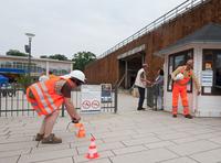 Kurfestpark in Bad Salzuflen mit Bauarbeiter Walk-Act von Ellen Kamrad Eventmanagement