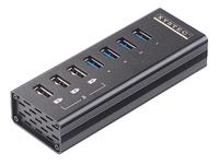 Xystec Aktiver USB-3.0-Hub mit 4 Ports und 3 Schnell-Lade-Buchsen (BC 1.2), 4 A