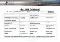 Ringler Research: Studie über Galane Gold LTd. veröffentlicht / Analytischer Bewertungskurs  0,50 CAD / 0,345 (+316% Kurspotenzial)