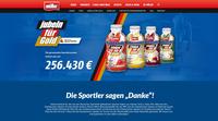 """Mit Teamspirit zum Erfolg: Müllermilch-Aktion """"Trinken für Gold"""" sammelt 256.430 Euro"""