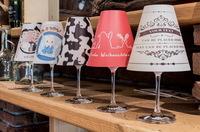 Mini-Lampenschirme Weinglas mit gedrucktem Motiv