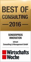 Infront Consulting & Management GmbH gewinnt den Sonderpreis Innovation beim Best of Consulting Award 2016 der WirtschaftsWoche