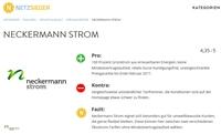 Neckermann Strom auf Platz2 der deutschen Stromanbieter