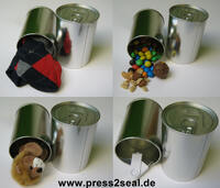 Geschenke und Werbeartikel in Original Blechdosen verpacken jetzt mit PressItIn ein Kinderspiel