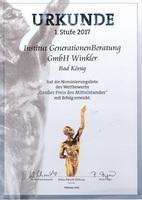"""Institut GenerationenBeratung für """"Großer Preis des Mittelstandes 2017"""" nominiert"""