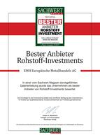 EMH AG - Bester Anbieter bei Rohstoff Investments