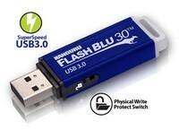 Hochqualitative Kanguru FlashBlu30 USB-3.0 Sticks mit Schreibschutz und Seriennummer auch als 256GB Version verfügbar