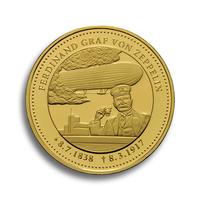 Degussa ehrt Graf Zeppelin zum 100. Todestag mit Gedenk-Thaler aus Gold und Silber