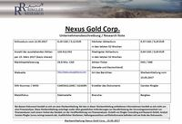 Ringler Research: Unternehmensbeschreibung über die Explorations- und Entwicklungsgesellschaft Nexus Gold Corp. veröffentlicht