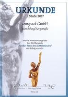 """comepack GmbH für """"Großer Preis des Mittelstandes 2017"""" nominiert"""