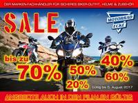 Sommer-Schluss-Verkauf bei der Motorrad-Ecke