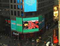 Santiago Ribeiro´s exhibition at Nasdaq OMX Group and Thomson Reuters Sign in Times Square, New York city.