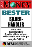 GfM mit Anlagegold24 bester Silberhändler Deutschlands laut Focus Money Test 5-2018