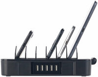 6-fach-Ladestation mit 5-Port-USB-Netzteil, Smart Power, 40 Watt und 8 A