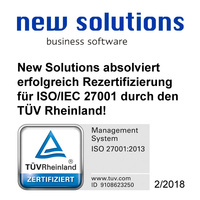 New Solutions absolviert erfolgreich Rezertifizierung für ISO/IEC 27001
