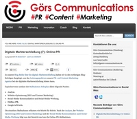 Görs Communications Blog Serie Digitale Markterschließung - Teil 7: Online-PR