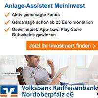 Digitalisierung in Höchstform. Bei Ihrer Volksbank Raiffeisenbank Nordoberpfalz eG. Und das mit Ihrem digitalen Anlage-Assistenten - MeinInvest
