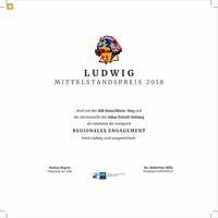 """Hofgartenmanufaktur druckt Urkunden und Festschrift für Mittelstandspreis """"Ludwig"""""""