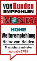FOCUS MONEY und Service Value bestätigen Heinz von Heiden erneut Hohe Weiterempfehlung
