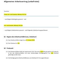 Muster von Arbeitsverträgen auf selbststaendigkeit.de