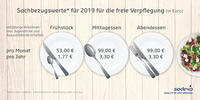 Sodexo: 2019 steigt der Sachbezugswert für Verpflegung auf 3,30 Euro
