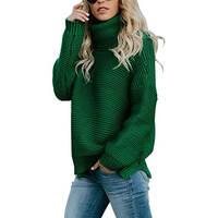 ITDIW Damen Warme Rollkragenpullover Grün