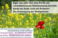 Der Umwelt zuliebe: TIERSCHUTZ hier! ohne Wahlplakate