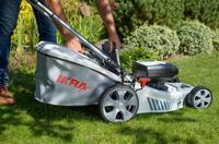 Rasenmäher, die den Garten sauber und ordentlich halten