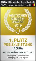1. Platz für Preis/Leistung - Jacura erzielt Top-Ergebnis beim Deutschen Kunden-Award 2019 für Pflegekräfte-Vermittler