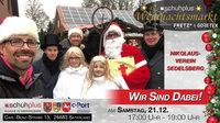 Nikolaus, Knecht Ruprecht und Engel beim ersten schuhplus - Weihnachtsmarkt in Sedelsberg
