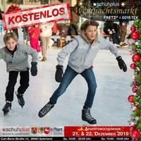 Im Saterland am c-Port gibt es den ersten schuhplus - Weihnachtsmarkt mit Eislaufbahn